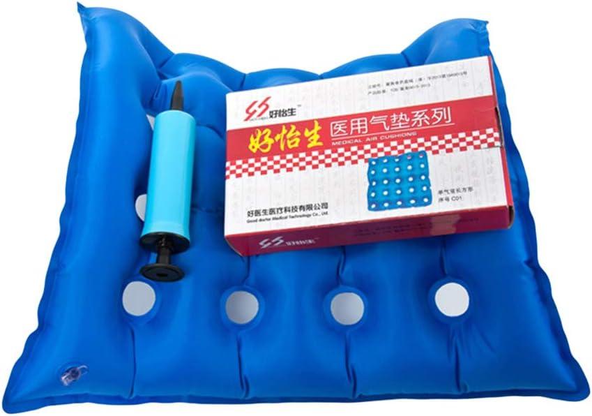 SUPVOX Amortiguador de asiento inflable del aire Amortiguador de asiento médico de la silla de ruedas para Hemorrhoid Back y Tailbone Pain Relief (azul, amortiguador e inflador)