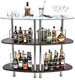 Mango Steam Contemporary Modern Home Entertainment Liquor Bar Catalina Table (Large, Clear and Brown)