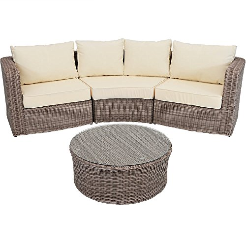 Sunnydaze Mollendo 4-Piece Outdoor Wicker Rattan Sofa Sectional Patio Furniture Set with Durable Aluminum Frame and 5-Inch Thick Beige Cushions