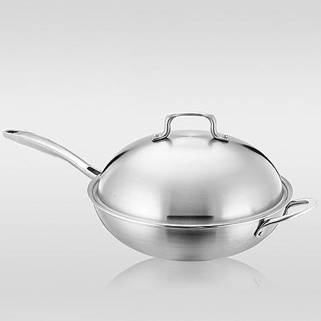 lxz Kitchen Craft Master Class profesional antiadherente inducción wok de acero de carbono, 30 cm