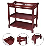 K&A Company Sleigh Style Baby Changing Table Infant Newborn Nursery Diaper Station Pad Furniture in Cherry