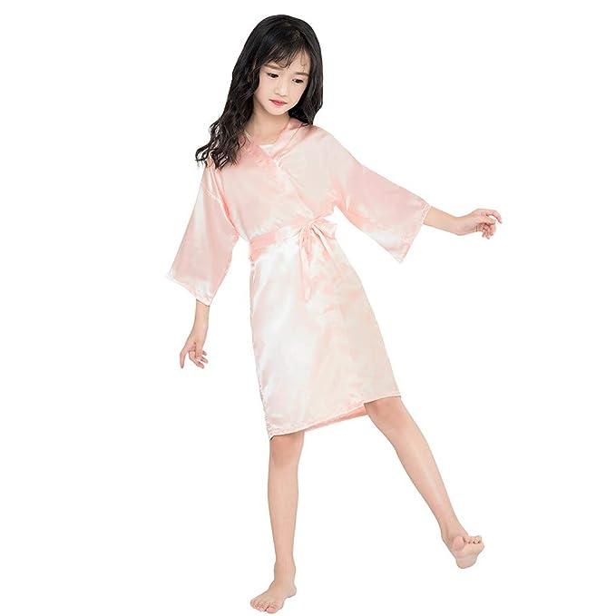 c90c93a68b HEETEY Toddler Baby Kids Girls Solid Silk Satin Kimono Robes Bathrobe  Dressing Gown Bathrobe for Kids
