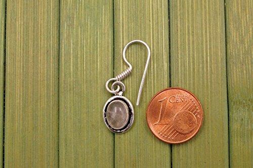 Boucles d'oreilles plaqué argent avec quartz rose 10 mm x 34 mm