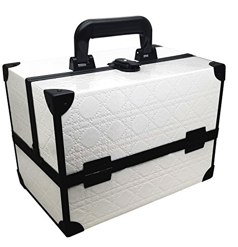 Ikee Design White Cosmetic Travel Carrying Case with Sturdy Black Aluminum Frame (White)