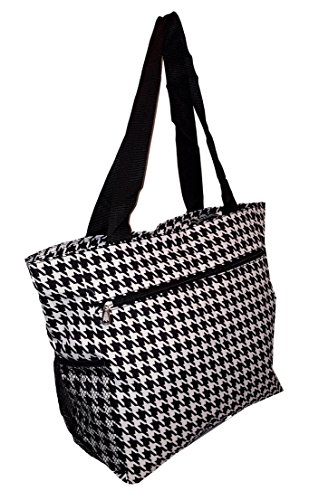 Large Multi - Pocket Fashion Zipper Top Organizing Beach Bag Tote - Custom Embroidery Available (Houndstooth Print) - Houndstooth Pocket