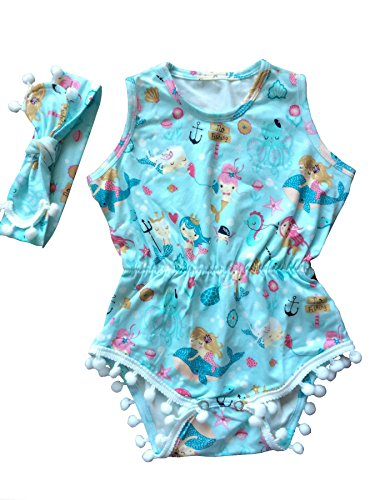 Anbaby Gilrs Cute Romper Climbing Clothes (12-24Months, Mermaid)