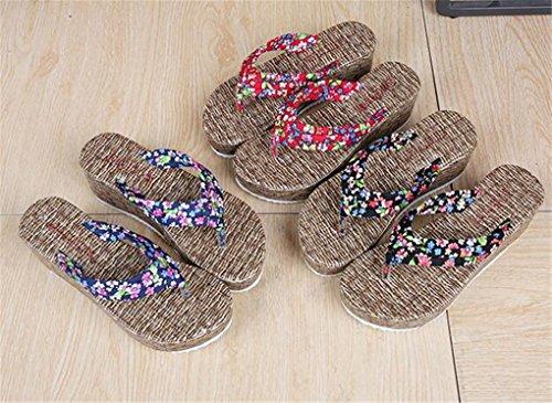 NEWZCERS El verano de las mujeres anti-deslizamiento con las sandalias de la playa de la arena de la fricción de la palabra, pantalones gruesos de los pies Azul