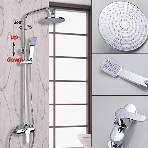 Polished European Tub Brass (OUBONI Wall Mounted Chrome Shower Faucet Set 8