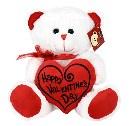 KINREX Valentines Day Teddy Bear - White with Red Message Pillow - 11.81