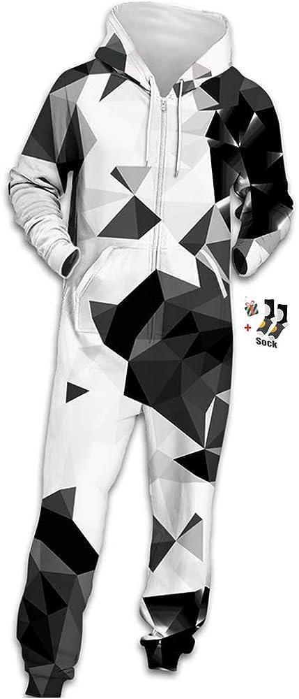 MORBUY Sudadera con Capucha de Hombre, Unisexo Trabajo Jumpsuit Pijama en Una Sola Pieza Manga Larga Impresión 3D Cierre de Cremallera Playsuit Adulto