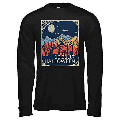 (Teely Shop Men's Vintage Halloween Oct 31 Solar Eclipse 2017 Mountain Country Bella Canvas - Unisex Jersey Long Sleeve Tee / Black /)