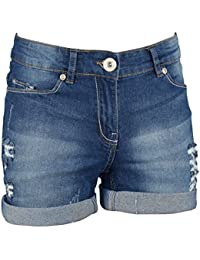 Women's Stretchy Denim Shorts Distressed Jeans Boyfriend Skinny Ripped Turn-up Hotpants