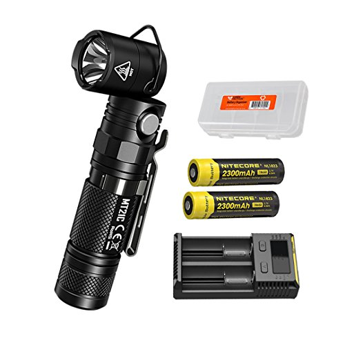 2300 Flashlight - NITECORE MT21C 1000 Lumen 90 Degree Tiltable Head Multifunction LED Flashlight with 2 x 2300mAh 18650 Rechargeable Batteries, i2 Battery Charger and Lumen Tactical Battery Organizer