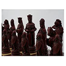 Camelot Theme Large Chess Pieces Ivory and Red by Berkley