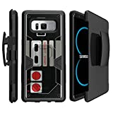MINITURTLE Case Compatible w/ Rugged Samsung Galaxy Note 8 Case w/ Built in Stand & Holster [Note 8 Max Defense Case ] Note 8 Shock Hybrid Silicone & Hard Shell for SMN950 Game Controller Retro