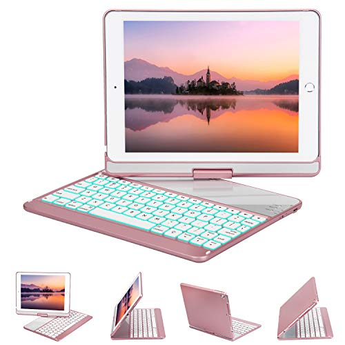 iPad Keyboard Case 9.7 Compatible iPad 2018(6th Gen)/2017(5th Gen)/iPad Pro 9.7/Air 2 & 1, 360 Rotate 7 Color Backlit Wireless/BT iPad Case with Keyboard, Auto Wake/Sleep (9.7 inch, Rosegold)