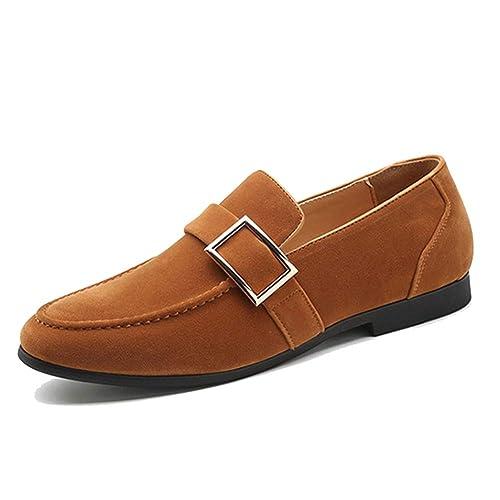 Mocasines de Fiesta para Hombre Diseño de Hebilla de Metal Elegante Ante Zapato de Vestir Calzado Vintage Pisos Casuales: Amazon.es: Zapatos y complementos