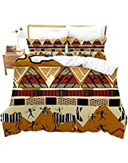 feelyou African Duvet Cover Set King for Kids Teen Tribal Ethnic African Print Bedding Set Exotic Indian Culture Comforter Cover Aboriginal Geometric Pattern Bedspread Cover Zipper&Ties Chic