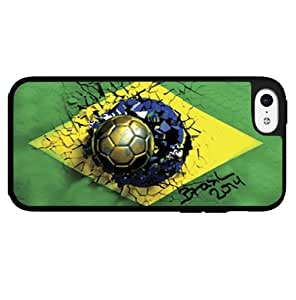 Green Yellow and Blue Brazil Soccer Flag Hard Snap on Phone Case (iPhone 5c) Designed by HnW Accessories