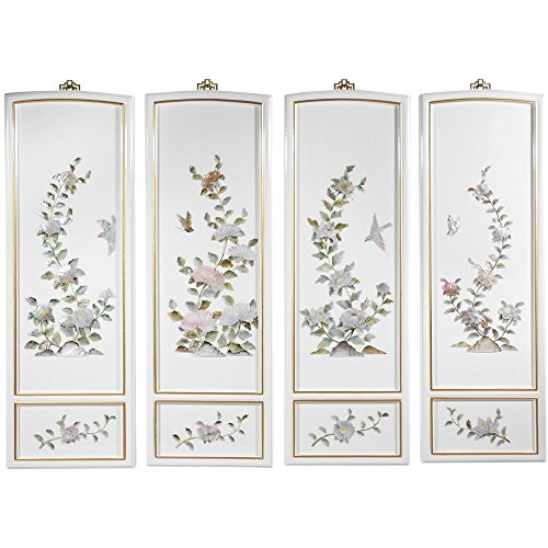 Oriental Furniture Birds and Flowers Wall Plaques (Asian Wall Plaques)