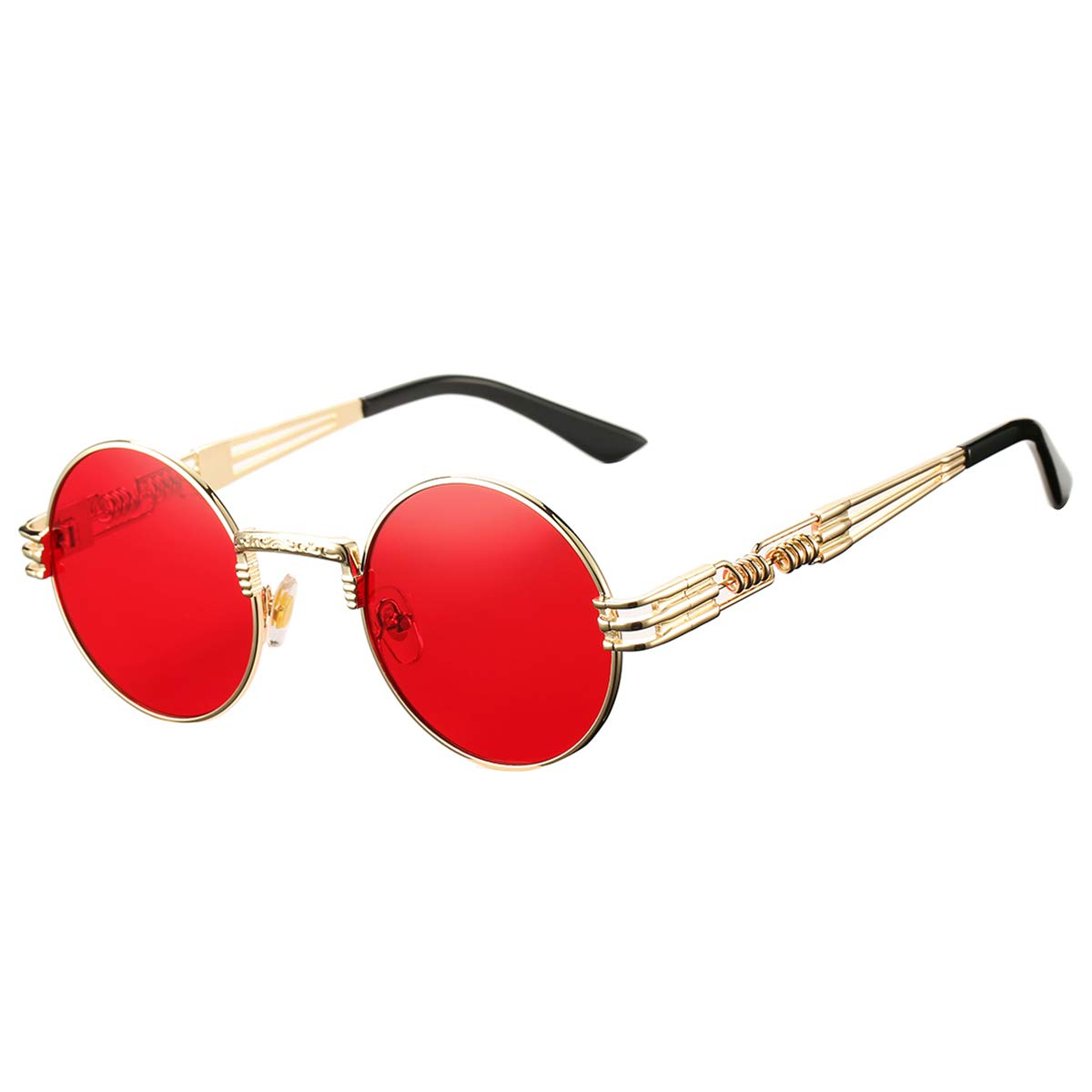 DeBuff Retro Round Steampunk Sunglasses John Lennon Hippie Glasses (Gold Frame/Ocean Red Lens) by DeBuff