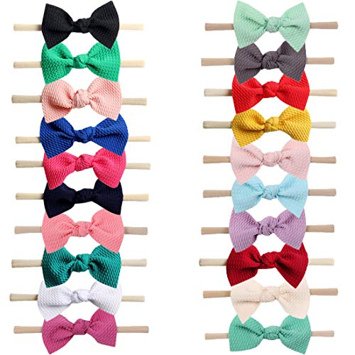 Xinshi Baby Girls Elastic Soft Hair Band Infant Bow Headbands Turban (XS-P2(20PCS))