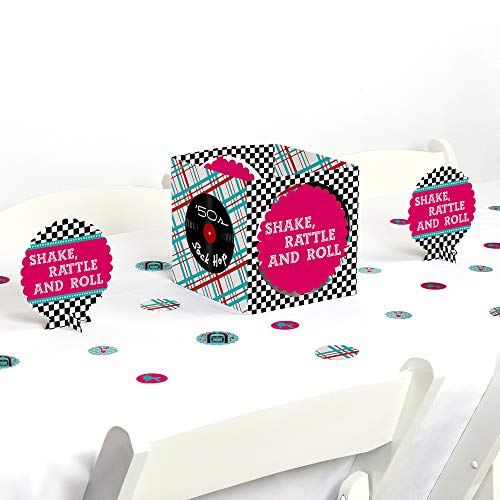 Big Dot of Happiness 50's Sock Hop - 1950s Rock N Roll Party Centerpiece & Table Decoration Kit]()