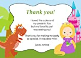 30 Thank You Cards Note Green Blue Pink Dinosaur Castle Blonde Princess Design Twins Siblings Baby Shower Birthday Party Personalized Cards + 30 White Envelopes