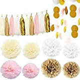 Cherry Down 35pcs Pink White Cream and Gold Party Decoration Set with tissue paper flower pom poms, tassel garland and polka dot garlands for Wedding, Bridal Shower, Baby Shower or Birthday Party