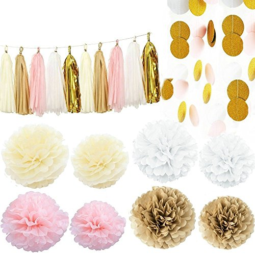 Pink White Cream and Gold 35pcs Party Decoration Set by Cherry Down -