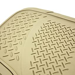 COPAP Heavy Duty Rubber 3 pcs Car Floor Mats Universal Fit Trimmable Nibbed Backing ( Beige )