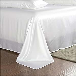 Luxury Silk Sheets, 100% Mulberry Silk Bedding Set 25 Momme Queen King White Black Plum (King, White)