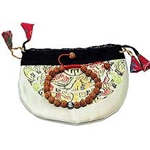 Tibetan Mala Rudraksha Seed Wrist Mala Bracelet with Carved Om Mani Conch Shell Spacer Free Silk Pouch