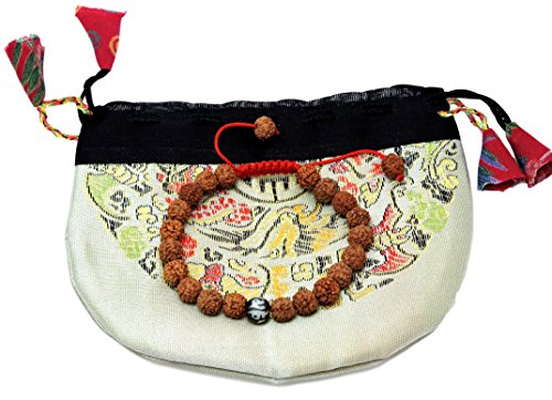 ha Seed Wrist Mala Bracelet with Carved Om Mani Conch Shell Spacer Free Silk Pouch (Rudraksha Seed)