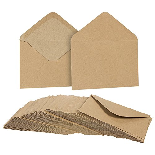 A4 Natural (100 Pack Brown Kraft Grocery Bag Paper A4 Envelopes for 4 x 6 Greeting Cards and Invitation Announcements - Value Pack Envelopes - 4.2 x 6.2 Inches - 100 Count)
