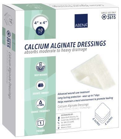 Abena Calcium Alginate Dressing 4 x 4 Inch Square Calcium Alginate Sterile Pack of 10