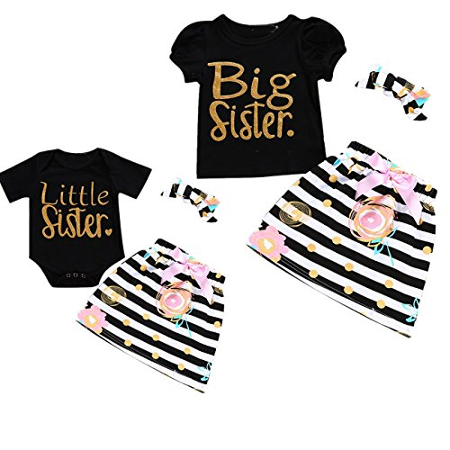 Camidy Little Big Sister Matching Romper T-Shirt Polka Dot Skirt Headband Outfits Set (3-6M, Little)