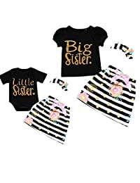 Camidy Little Big Sister Matching Romper T-Shirt Polka Dot Skirt Headband Outfits Set