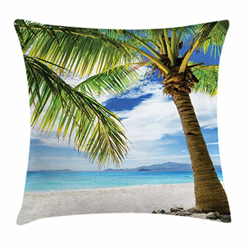 Lonely Palm Tree Throw Pillow Cushion Cover by Ambesonne, Sandy Beach Isolated Philippines Hot Sunny Travel Destination, Decorative Square Accent Pillow Case, 26 X 26 Inches, Green Coconut - Philippines Sunnies