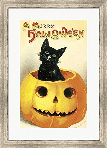 (Merry Halloween by Vintage Apple Collection Framed Art Print Wall Picture, Silver Scoop Frame, 23 x 31)