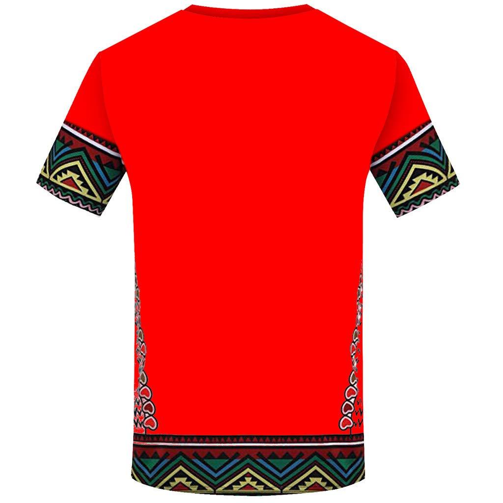 zarupeng✦‿✦ Moda masculina africana boho chic Impreso folk-custom camiseta Manga corta Camisa Casual Top Blusa: Amazon.es: Hogar