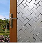 ANNIMOS Frosted Window Film Privacy Lattice Pattern Non-Adhesive Static Cling Stained Glass Decorative Stciker 45x200CM