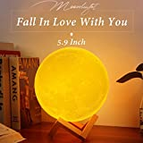 Sunba Youth Moon Night-1 3D Lunar Lamp with Stand, 5.9 Inches Mystical Rechargeable Dimmable Touch Control Lighting Color for Home Decor, 6.96.96.5