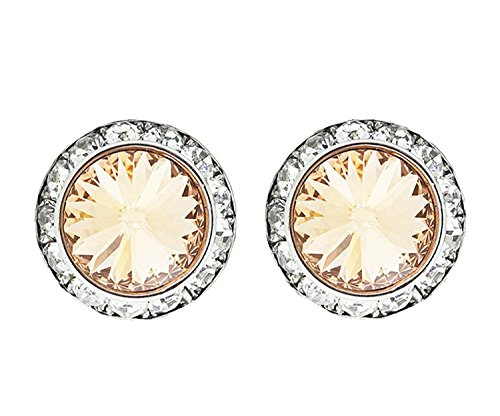 - Jewelryfinds Lady Light Peach 15mm Round Crystal Stud Earrings Made with Swarovski Elements-Light Peach