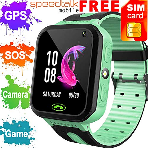 ([SIM Card Included] Kids Smart Watch Phone GPS Tracker for Girls Boys, Kid Smartwatch SOS Anti-Lost Cellphone Game Camera Flashlight Child Outdoor Sport Wrist Watch Back to School Summer Toy)