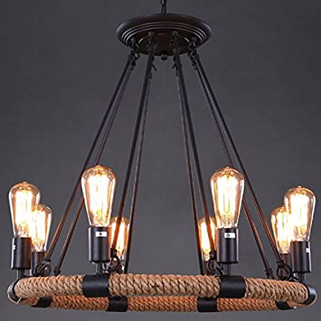 Vintage Chandelier 8 Light Bulbs Ceiling Pendant Fixtures Best For  Farmhouse Dining Room Living Room Bedroom