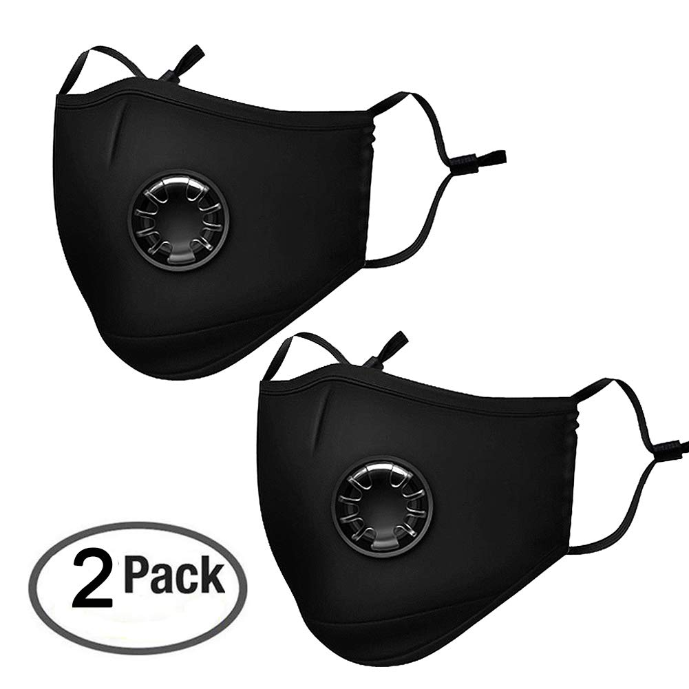 Pack 2 Dust Respirator N95 N99 Breathing Anti Pollution Mask For Men & Women - Reuseable Washable Air Pollution Travel Mask with 4 Activated Carbon Filters, by Velvet fabric
