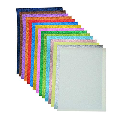Faux Leather Glitter Canvas Sheets- 15 Pieces Assorted Colors A4 Size(8 X 12 Inch)Shiny Glitter Fabric Sheets for Bows, Earrings, Hair Accessories Making(15 Colors, Each Color One Sheet)