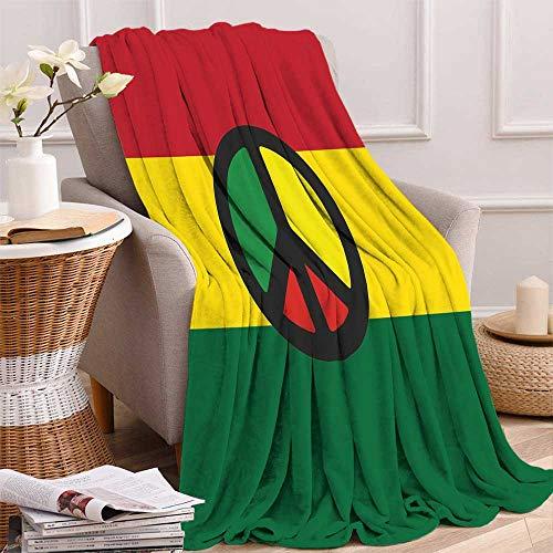 America Quilted Throw - Jamaican Lightweight Blanket Reggae Culture Peace Symbol Caribbean Country Flag Design Americas Rasta Culture Digital Printing Blanket 50