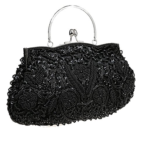Beaded Satchel (ThyWay Beaded Sequin Design Metal Frame Kissing Lock Satin Interior Evening Clutch (Black))